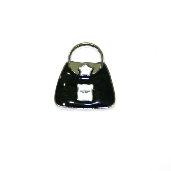1pce x 20*14mm Rhodium plated black handbag w/ cut pig and white star enamel charm - SD03 - CHE1114